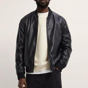 Zara Man faux leather bomber jacket size S